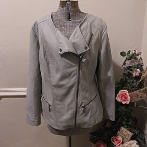 EUC Alfani Woman Gray Vegan Leather Moto Jacket